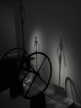 "Shadowed duel image created from Bronze sculpture bu Alberto Giocometti ""The Chariot"" 1860"