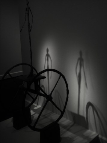 """Shadowed duel image created from Bronze sculpture bu Alberto Giocometti """"The Chariot"""" 1860"""