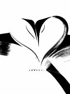 black and white bound heart