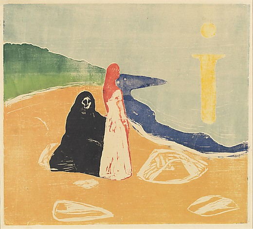 1898/c. 1917 or later (1920s); color woodcut, from one woodblock sawn into three pieces and two stencils, in black, orange, red, green, dark blue, light blue overprinted with light beige, and yellow on medium polished cream wove paper. National Gallery of Art, Washington, Print Purchase Fund (Rosenwald Collection) and Alisa Mellon Bruce Fund, 1978.