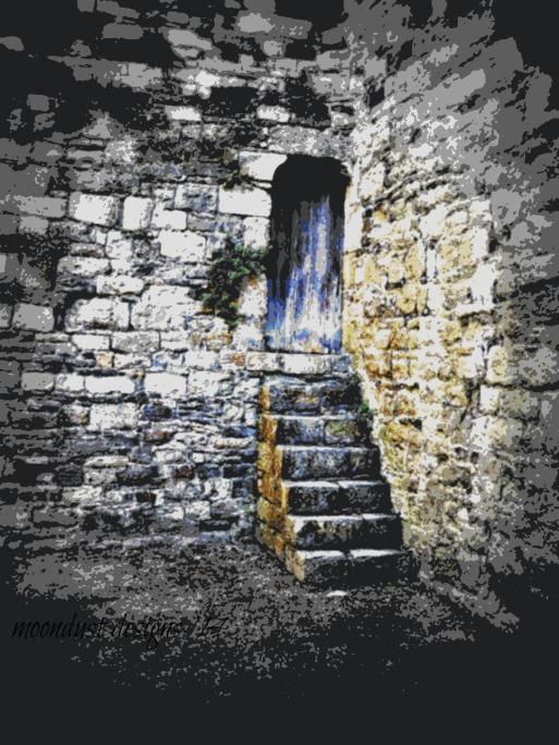 posterized castle door