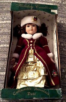 Collectible-Porcelain-Doll-Red-Velvet-And-Gold
