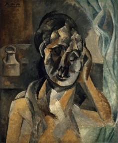 Pablo_Picasso,_1910,_Woman_with_Mustard_Pot_(La_Femme_au_pot_de_moutarde),_oil_on_canvas,_73_x_60_cm,_Gemeentemuseum,_The_Hague._Exhibited_at_the_Armory_Show,_New_York,_Chicago,_Boston_1913