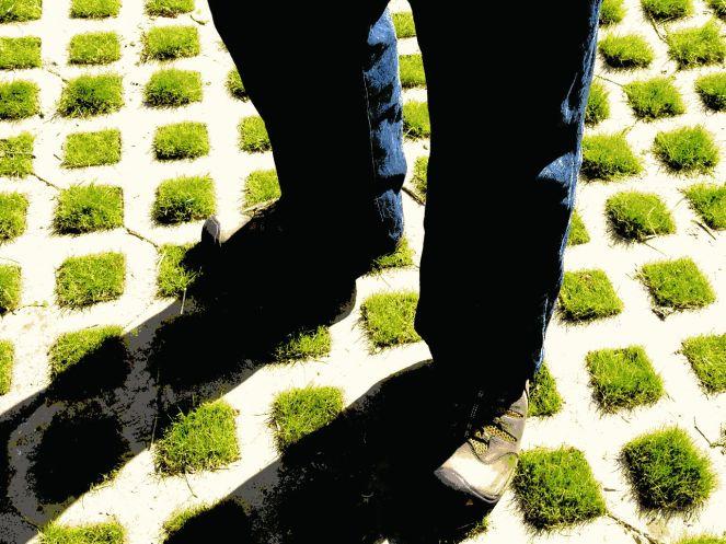 feet and grass