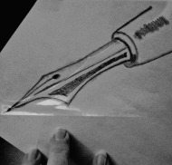 pen and hand